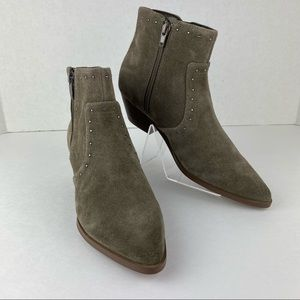 Marc Fisher Leather Western Detail Ankle Boots